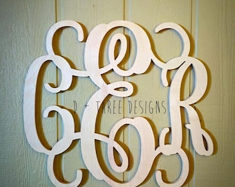 24 Inch Wooden Monogram, Letters, Home Decor, Weddings, Nursery Letters, Ready to be painted!