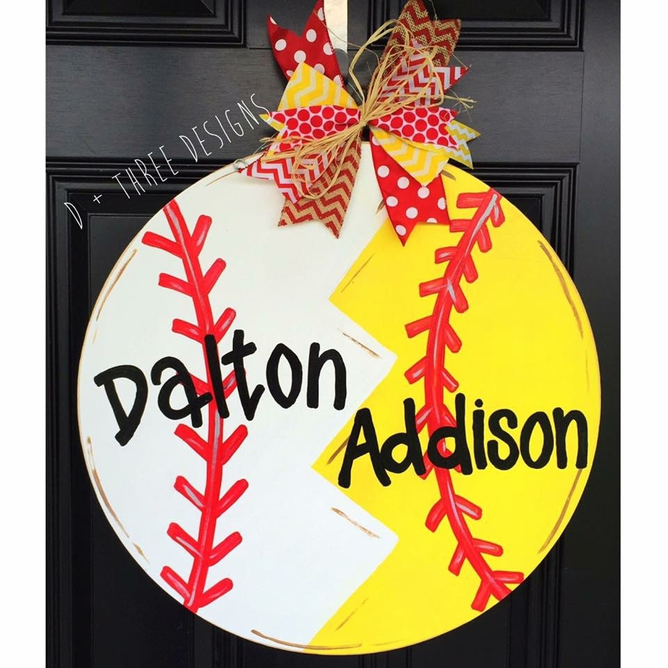 Softball Baseball Door Hanger Baseball Decor Baseball Wreath