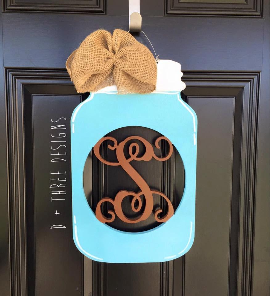Monogram Southern Mason Jar Wooden Door Hanger, Country Decor ...