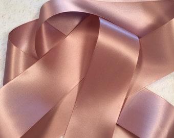 Pink Ribbon/Antique Mauve Satin Ribbon/Rose Gold Ribbon/Wedding Dress Sash/Mauve Satin Ribbon/Pink Wedding Belt/Mauve Bridal Belt