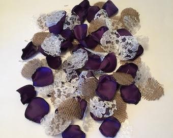 Purple flower petals etsy purple rustic petalscountry flower girlrustic toss petalsbarn wedding petals junglespirit Choice Image