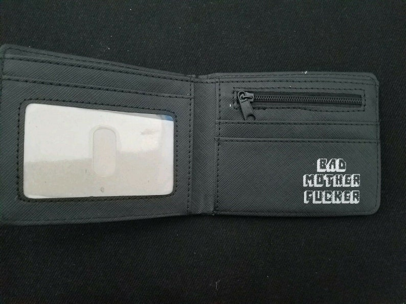 Wallet Bad Motherf*cker White Embroidery Pulp Fiction Mofo MF Leather New