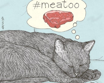 Cats magnet - meatoo -  featuring Rafi, the famous Israeli cat from Ha'aretz Newspaper Comics