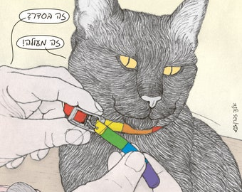 Cats magnet - pride collar in Hebrew -  featuring Rafi, the famous Israeli cat from Ha'aretz Newspaper Comics