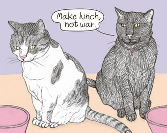 Cats Shana Tova Postcard - peace - featuring Rafi and Spageti, the famous Israeli cats from Ha'aretz Newspaper Comics