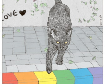 Cats print - Pride sidewalk -  featuring Rafi, the famous Israeli cat from Ha'aretz Newspaper Comics