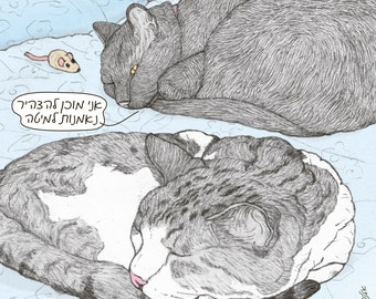 Cats magnet - Oath of citizenship in Hebrew -  featuring Rafi and Spageti, the famous Israeli cats from Ha'aretz Newspaper Comics