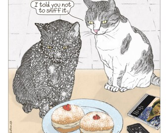 Cats Hanukkah Print in English -  featuring Rafi and Spageti, the famous Israeli cats from Ha'aretz Newspaper Comics