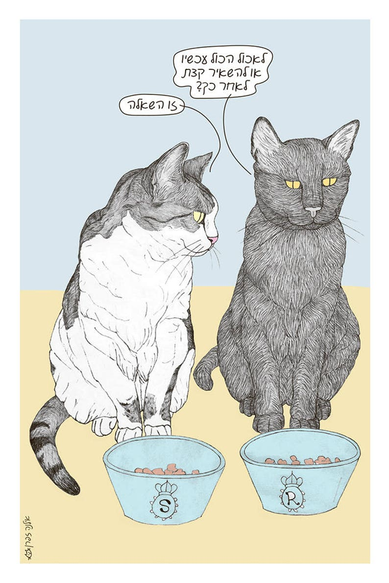 the famous Israeli cats from Ha/'aretz Newspaper Comics Cats Eating dilemma Postcard in Hebrew featuring Rafi and Spageti