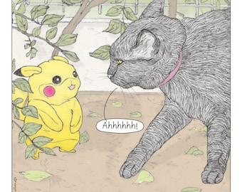 Cats Pokemon Print in English  - featuring Rafi, the famous Israeli cat from Ha'aretz Newspaper Comics