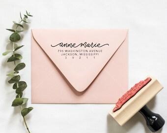 Hand Lettered Monoline Style Return Address Stamp | Whimsical return address, RSVP address stamp, Wedding return address stamp