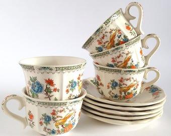 Vintage coffee cups, set of 5 portuguese ceramic expresso cups, flowers cups and saucers, demitasse cups, Loiça de sacavém Portugal