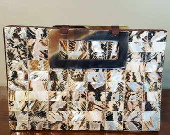 Lovely Vintage Genuine Shell Purse, Tortoise Handbag, Brown and Cream Top-Handle Clutch, Retro Fashion