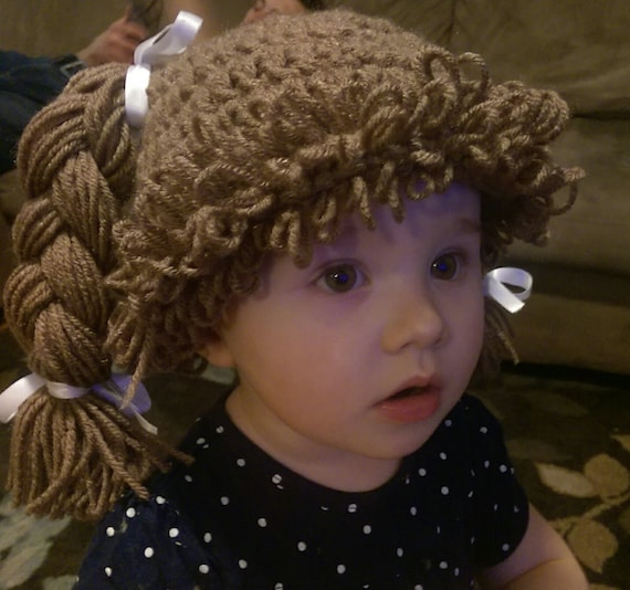 Crochet cabbage patch doll hat wig beanie baby wig crochet  f0439fc595e
