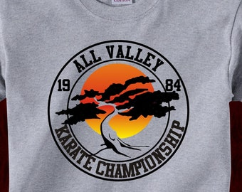 3ca07175 ALL VALLEY CHAMPIONSHIP Miyagi Do - T-Shirt in many color options - adult  mens/unisex shirts - karate kid 80s movie cobra kai dojo