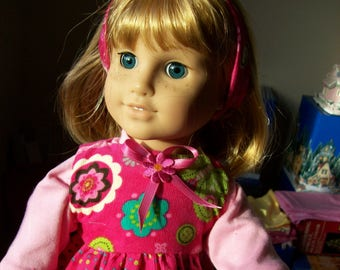 Beautiful Dark Pink Corduroy Jumper/dress with shirt, headband,bracelet