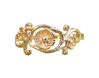 Gold Ring, Flower Ring, Branch Ring, Leaf Ring, Floral Ring, Blossom Ring, Yellow Gold Ring, Band Ring, Gold Plated Ring