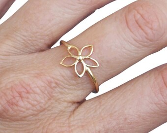 Gold Ring, Flower Ring, Floral Ring, Band Ring, Blossom Ring, Gold Plated Ring