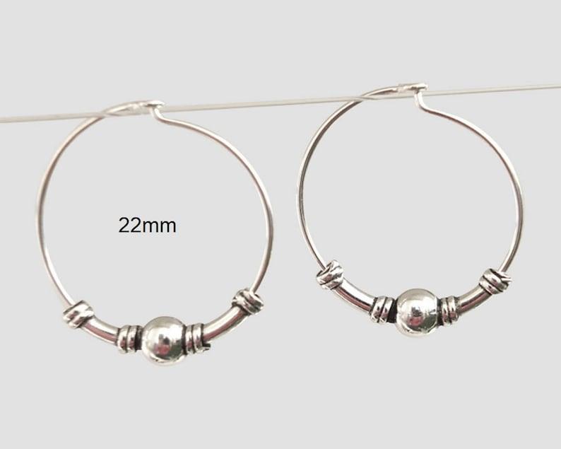 Sterling Silver 14mm Wire Tribal Bali Hoop Earring