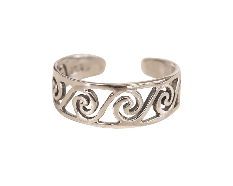 Adjustable Ring Swirl Toe Ring Free Shipping Silver Toe Ring Midi Ring Knuckle Ring Spiral Ring Open Ring