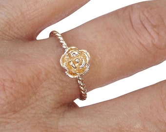 Gold Ring, Rose Ring, Flower Ring, Floral Ring, Blossom Ring, Twisted Band ring, Gold Plated Ring