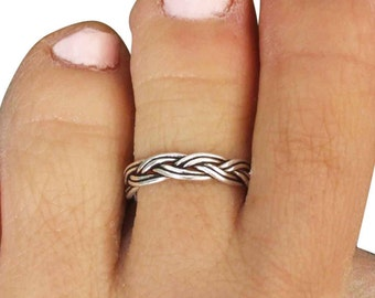 Sterling Silver Toe Ring, Silver Midi Ring, Mid Finger Ring, Silver Knuckle Ring, Silver Adjustable Ring, Silver Rope Ring, Silver Band Ring