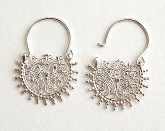 Sterling Silver Earrings, Silver Hoop Earrings, Ethnic Earrings, Ethnic Hoops, Semi Circle Earrings, Spiral Hoops, Filligree Earrings