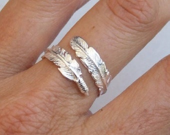 Sterling Silver Ring, Silver Feather Ring, Silver Wrap Ring, Silver Adjustable Ring, Open Ring
