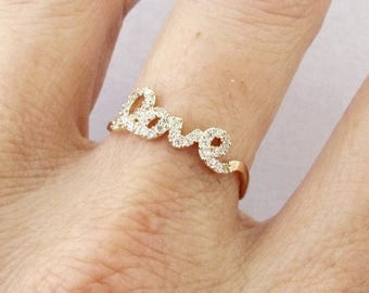 Gold CZ Ring, Love Ring, Gold Plated Ring, Bridesmaid Ring