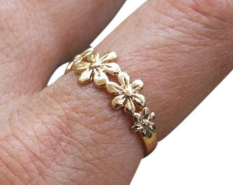 Gold Flower Ring, Gold Ring, Gold Floral Ring, Flower Ring, Floral Ring, Blossom Ring, Band Ring, Dainty Ring
