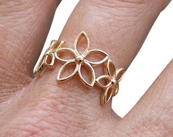 Gold Ring, Flower Ring, Floral Ring, Band Ring, Dainty Ring, Gold Plated Ring