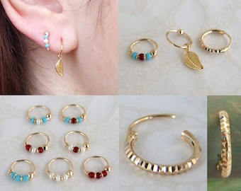 Set of 3 Gold Hoop Earrings for 2nd and 3rd ear piercings, Helix (top ear  piercing) or nose, Hoops set, Earrings set, 8mm hoops