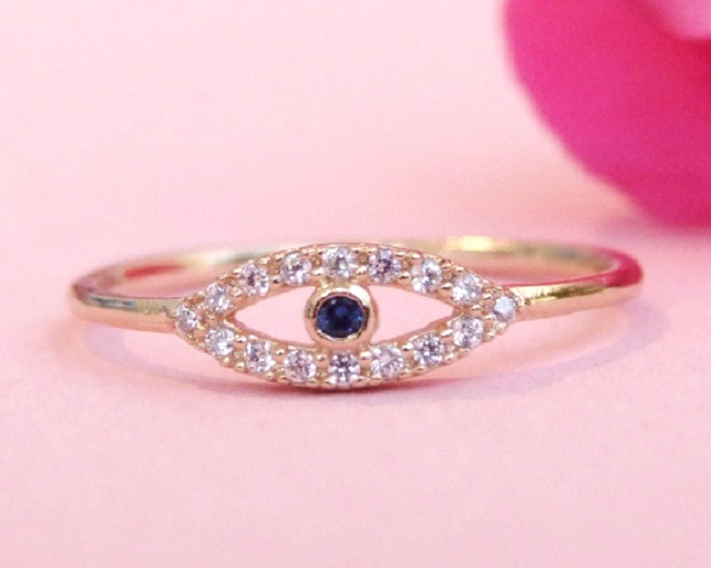 Gold Ring Gold Evil Eye Ring CZ Ring Cubic Zirconia Ring