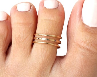 Gold Toe Ring, Gold Knuckle Ring, Adjustable Ring, Open Ring, Triple Band Ring, Three Lines Ring, Multi Band Ring, Small Ring, Midi Ring