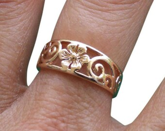 Gold Ring, Flower Ring, Floral Ring, Blossom Ring, Spiral Ring, Band Ring, Gold Plated Ring