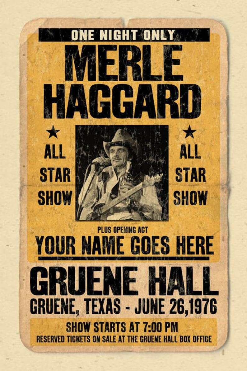 Art Print Poster Canvas Merle Haggard in Concert