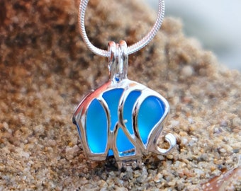 Dainty Elephant Necklace Elephant Jewelry Gift for women  Sea Glass Necklace Seaglass jewelry Beach lovers gift