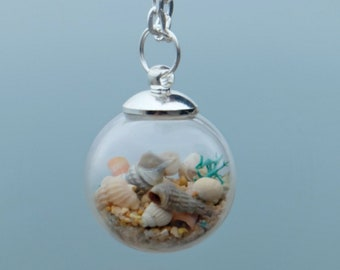 Mothers day, Wife birthday gift, Beach wedding, Beach terrarium, Gift for bride, Necklace for her, Beach Wedding, Simple necklace gift.