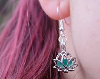 Lotus Earrings,  Lotus flower earrings, Yoga style earrings, Silver lotus earrings, Lotus yoga earrings, Boho earrings, Flower earrings.