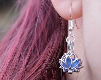 Sea Glass Lotus Earrings Boho Unique Earrings Flower lotus earrings Yoga earrings Sea Glass Jewelry Gift for women Christmas gift