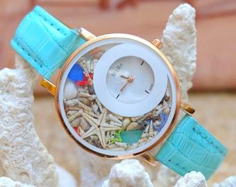 Women Watch Wrist Unique Gifts For Beach Shell Starfish Mom Birthday Best Friend Gift Watches