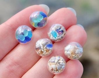 Sea glass stud earrings, Boho Unique earrings, Sea Shell Earrings, Beach earrings for women, Unique gift for women, Birthday gift for her