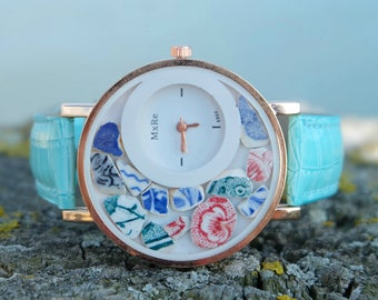 Women wrist watch,Gift for daughter,Sea pottery  jewelry,Gift for sister,Bridesmaid gift ,Boho watch,Mom birthday gift,Birthday Gift,