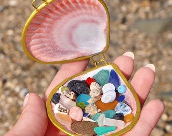 Genuine Sea Glass and Beach Treasure Unique gift  Beach Glass Sea Pottery Beach Decor Mermaid treasure shell box Birthday gift for mermaid