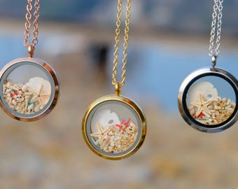 Beach necklace, Terrarium necklace, Romantic gift, Sand dollar necklace, Elegant necklace, Sand necklace, Beach sand, Beach wedding jewelry.