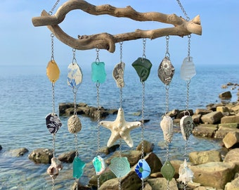 Sea glass suncatcher Beach suncatcher driftwood Nautical suncatchers for windows hanging Beach mobile hanger Beach decor Cute christmas gift