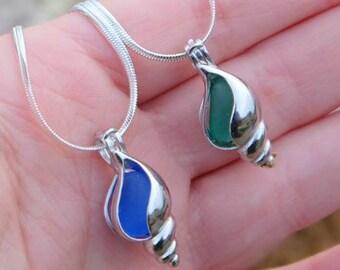 Seashell jewelry, Sister birthday gift,Sterling  silver Shell, Seashell necklace, Shell necklace, Sea glass necklace, Sea glass jewelry