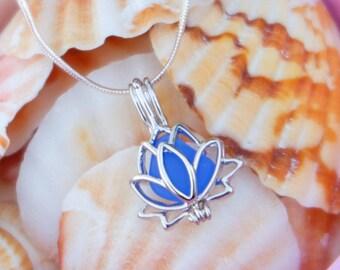 Lotus necklace, SS Lotus yoga necklace, Lotus locket necklace, Lotus flower necklace, Lotus jewelry, Sea glass lotus, Sterling silver cage