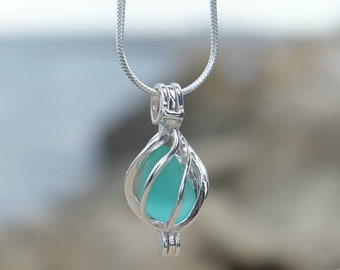 Sea glass necklace,My bridesmaid gift, Nautical necklace present, Romantic gift for her, Anniversary jewelry gift, Unique ocean necklace.