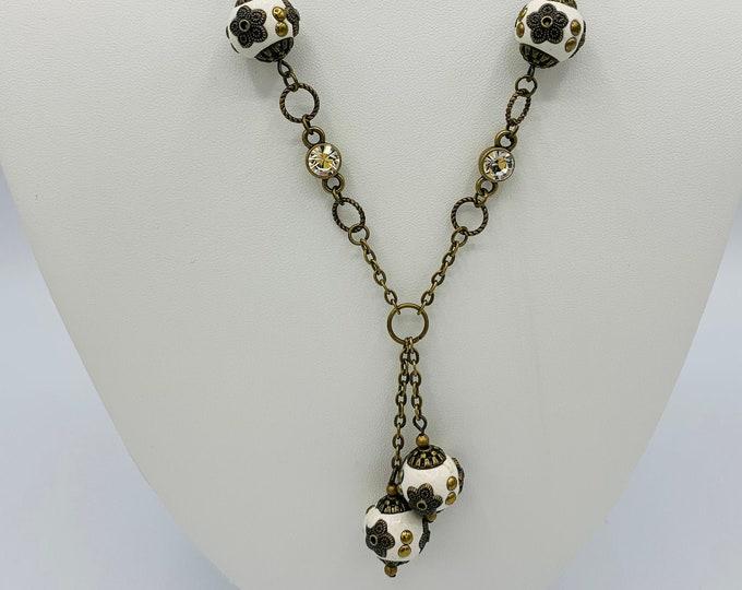 Cream Tibetan Bead Necklace/18inch Handmade Necklace/Antique Brass Y Necklace/Boho Necklace/Boho Jewelry